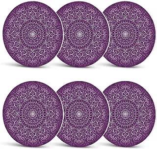 Purple Mandala Unique Coasters,Round Stylized Tibetan Healing Cosmos Spiritual Yoga Growth Tattoo Image for Coffee Shop & BarSet of 6
