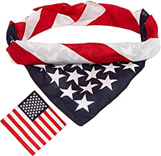 BETTERLINE American Flag Bandana Headband - USA Flag Patriotic 100% Cotton Apparel - 22