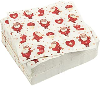 100-Pack Cocktail Napkins - Christmas Themed Disposable Paper Party Napkins with Santa Claus Prints - Soft and Absorbent - Perfect for Luncheons, Dinners and Celebrations - 6.5 x 6.5 Inches Folded