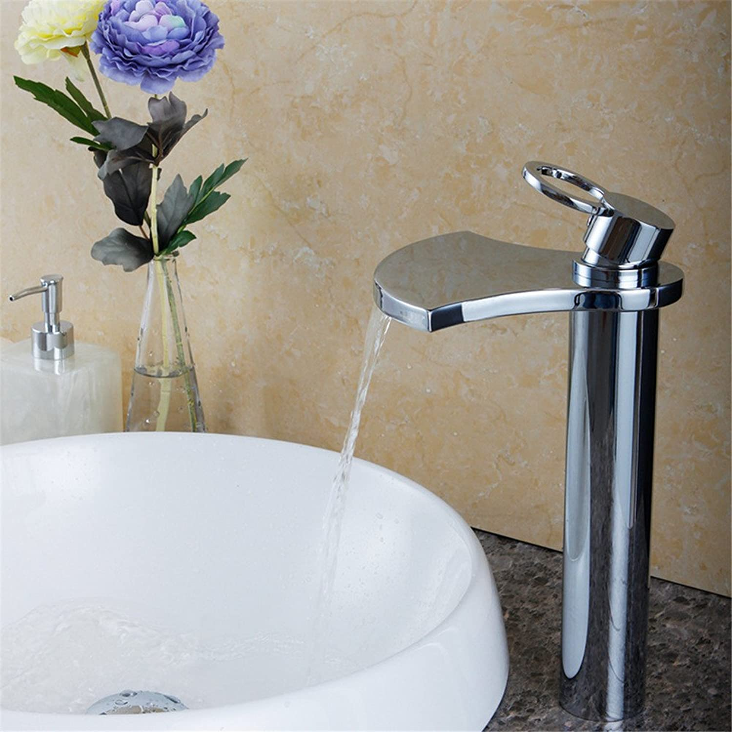 LHbox Basin Mixer Tap Bathroom Sink Faucet The copper material with led tri-color red blue and green water falls out of the hot and cold water basin mixer Janitorial & Sanitation Supplies Commercial Bathroom Sink Taps