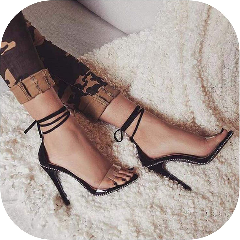 Alerghrg Pumps Sandals Lace Up Bordered String Bead High Heels