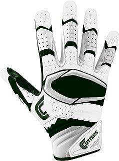 Cutters Gloves Rev Pro 2.0 Receiver Football Gloves, White/Dark Green, Large