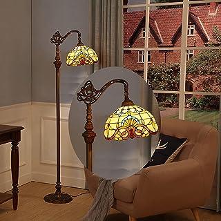WRMING 12W LED Tiffany Lampadaire Sur Pied Salon,Dimmable Lampe de Plancher avec Télécommande,Rétro Lampe de Lecture pour ...