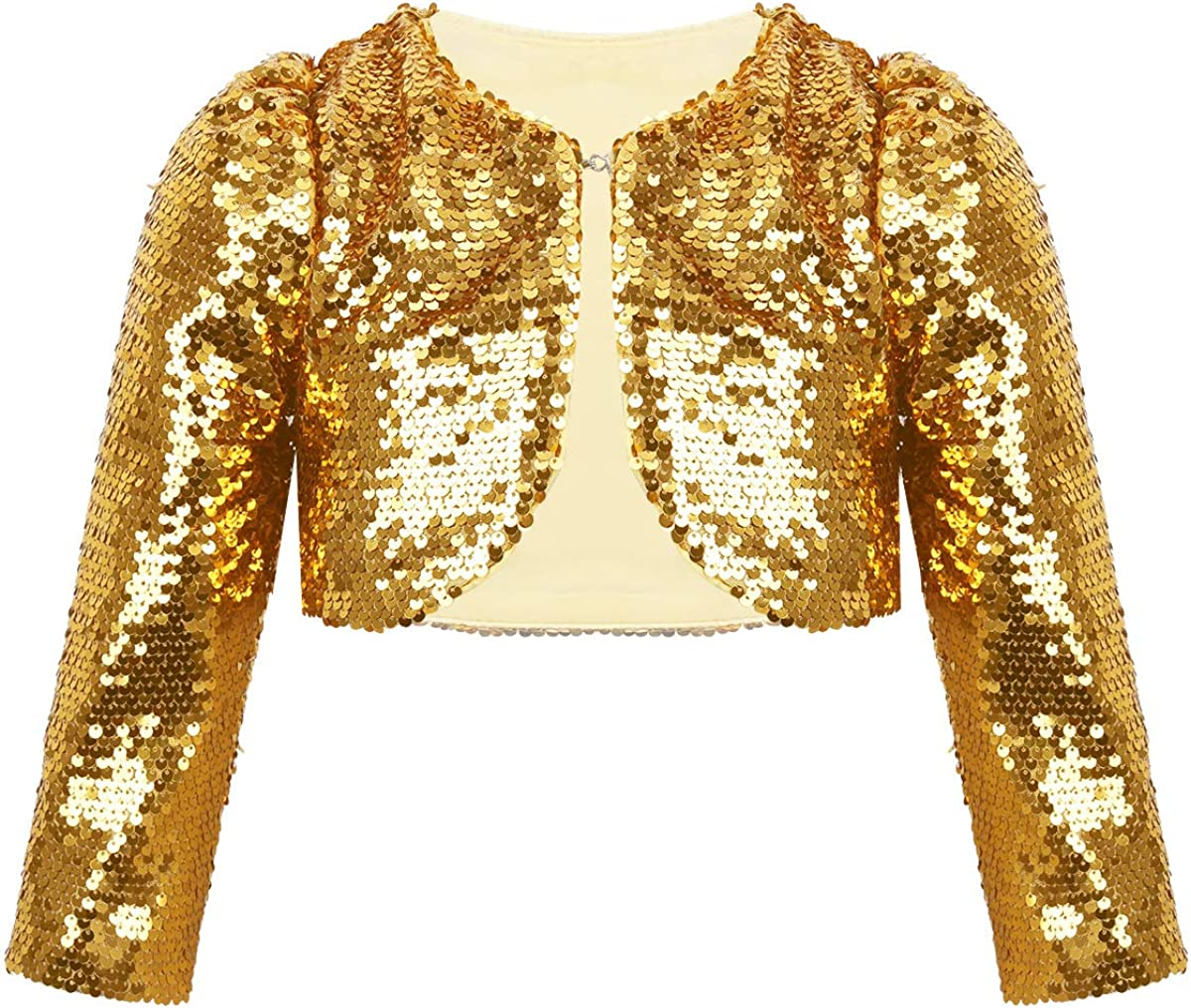 YiZYiF Kids Girls Long Sleeve Sparking Sequins Shrug Wedding Pageant Party Outerwear Bolero Jackets