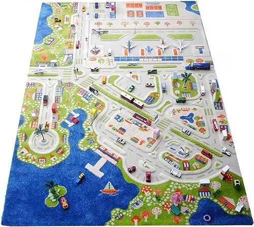 Little Helper LHB121MD034160230-G, IVI Hypoallergener Dicker 3D-Kinderspielteppich, Farbenfrohes Design Ministadt mit dreidimensionalen Stra  und Flughafen, 160 x 230cm, Mehrfarbig