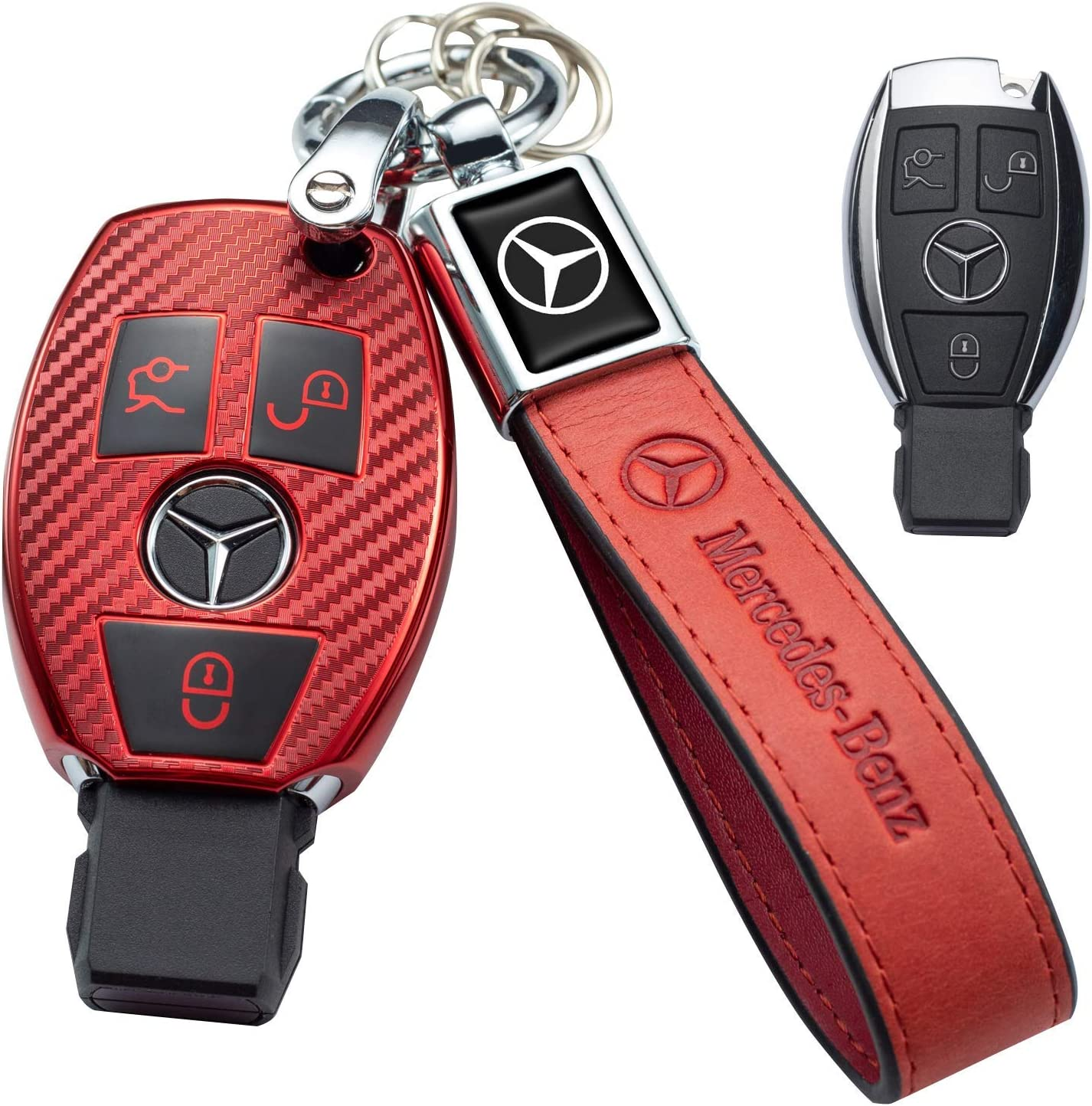for Mercedes Benz Key Fob Cover Premium Soft TPU Key Case Cover Carbon fiber Compatible with Mercedes Benz C E S M CLS CLK G Class logo Smart Key case Fob red