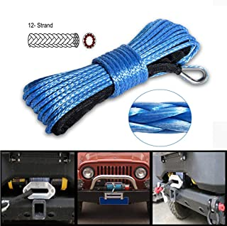 Winch Rope 1/4''x50' Synthetic Winch Cable Blue Winch Rope 7500+ LBs with Sheath for atvs Winches ATV UTV SUV Truck Boat Ramsey Nylon Winch Rope Extension