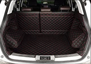 Auto mall Waterproof Custom Fit Full Covered Trunk Mats Cargo Liners Leather Boots Liner Pet Mats for Audi Q5 2010-2017 (2nd row is been separate into 3 parts) (Black with red line)