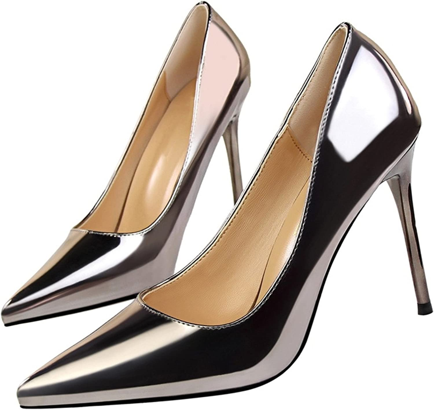 2018 Woman's shoes Women's Pumps Pointed Toe High Heel Stiletto Classic Pumps Silver Closed Toe Pumps Prom shoes White