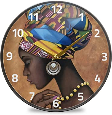 ALAZA Afro African American Woman Wall Clock Battery Operated Silent Non Ticking Clocks for Living Room Decor 12 Inch / 9.5 I
