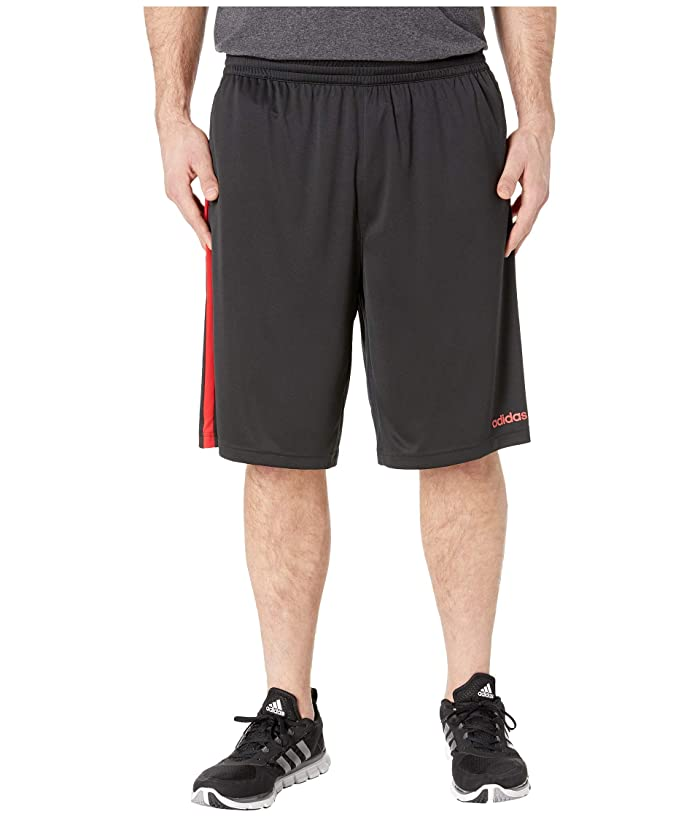 adidas Big Tall D2M 3-Stripe Shorts (Black/Scarlet) Men