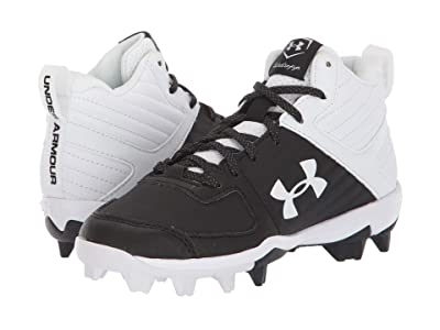 Under Armour Kids Leadoff Mid RM Baseball (Toddler/Little Kid/Big Kid) (Black/White) Kids Shoes
