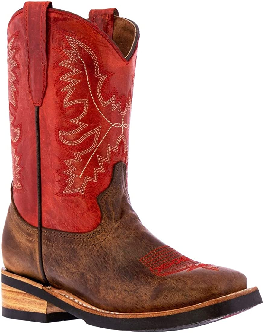 Kids Red store Western Cowboy Boots Square Leather Toe Super sale period limited Classic