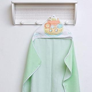 Toalha Felpuda Baby Lisa Forrada com Capuz Estampado, Papi Textil, Verde