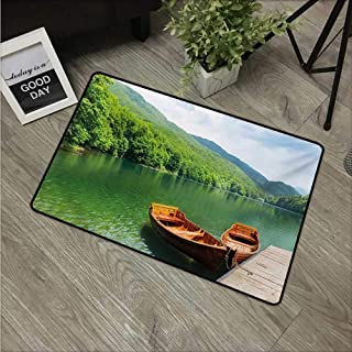 Nature,Carpet Flooring Boats on The Lake by Forest Surreal Serene in Woodland Paastoral Landscape W 16