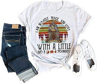 Im Mayormente Peace Love and Light Camisa Mujer Yoga Meditación y Espiritualidad Cuello Redondo Manga Corta Vintage Top