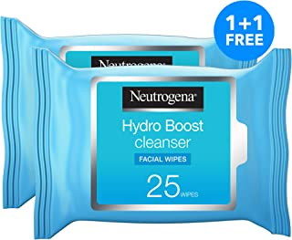Neutrogena, Makeup Remover Wipes, Hydro Boost Cleansing, Face, 25 wipes, Pack of 2