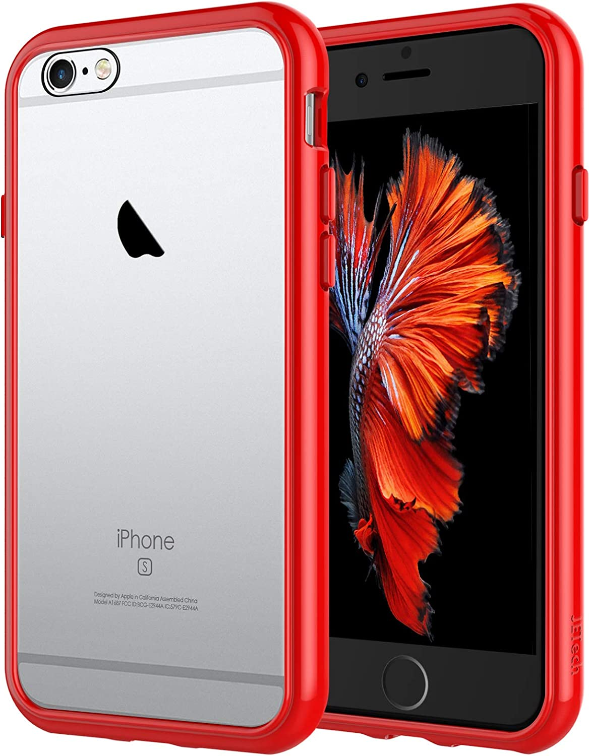 JETech Case for iPhone 6 and iPhone 6s, Shock-Absorption Bumper Cover, Anti-Scratch Clear Back (Red)