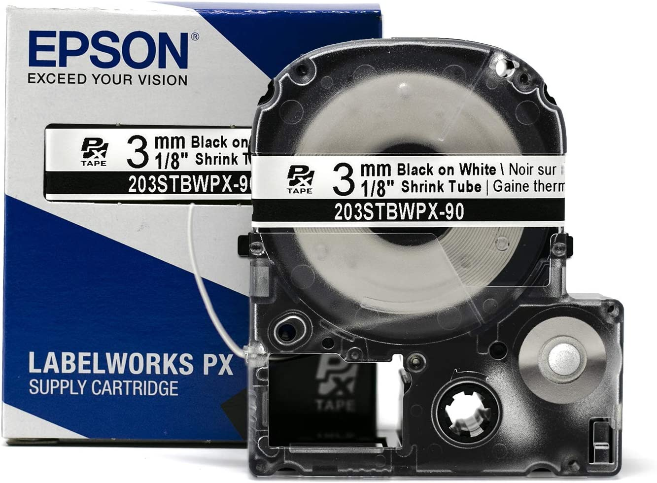 Epson LABELWORKS 203STBWPX-90 Popular At the price brand in the world Tape Cartridge - White Sh Black on