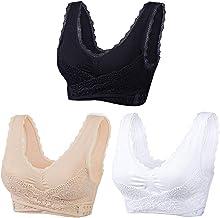 Women's Lace Bra-Adjustable Front Cross Side Buckle Bras Seamless Comfy Wide Straps Underwear for Leisure Yoga Bra