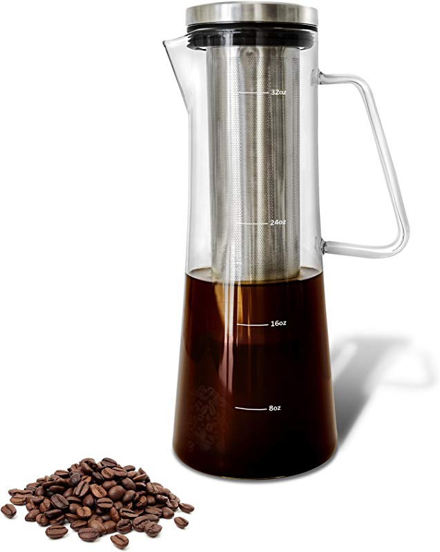 Cold Brew Iced Coffee Maker And Tea Infuser With Spout Brocca By Bassani 1 0L 32oz Glass Carafe With Stainless Steel Removable And Reusable Filter