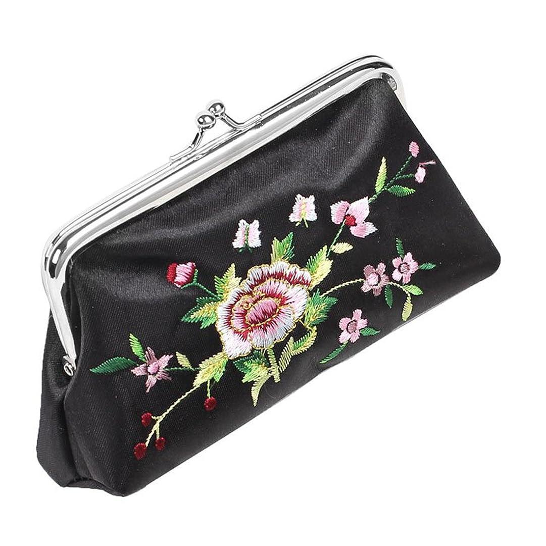 アスペクト落胆させる外観ACAMPTAR ブラック花刺繍 ウォレット、ミラー、口紅ホルダーケース 3イン1セット