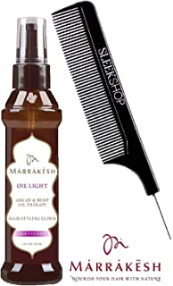 Earthly Body MARRAKESH OIL LIGHT Hair Styling Elixir with Argan & Hemp Oil Therapy, HIGH TIDE SCENT (with Sleek Steel Pin Tail Comb) (Light High Tide - 2 oz / 60 ml)