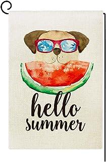 Agantree Art Hello Summer Watermelon Dog Garden Flag Waterproof Double Sided Yard Outdoor Decorative 12 x 18 Inch – Fun Do...