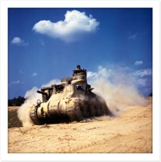 Palmer War WWII USA M3 Lee Tank 1942 Photo Square Wooden Framed Wall Art Print Picture 16X16 Inch