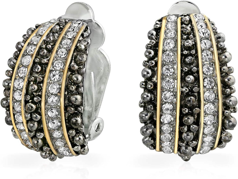 Bali Style Caviar Beading Two Tone Crystal Half Hoop Clip On Earrings Non Pierced Ears Black 14K Gold Plated Brass
