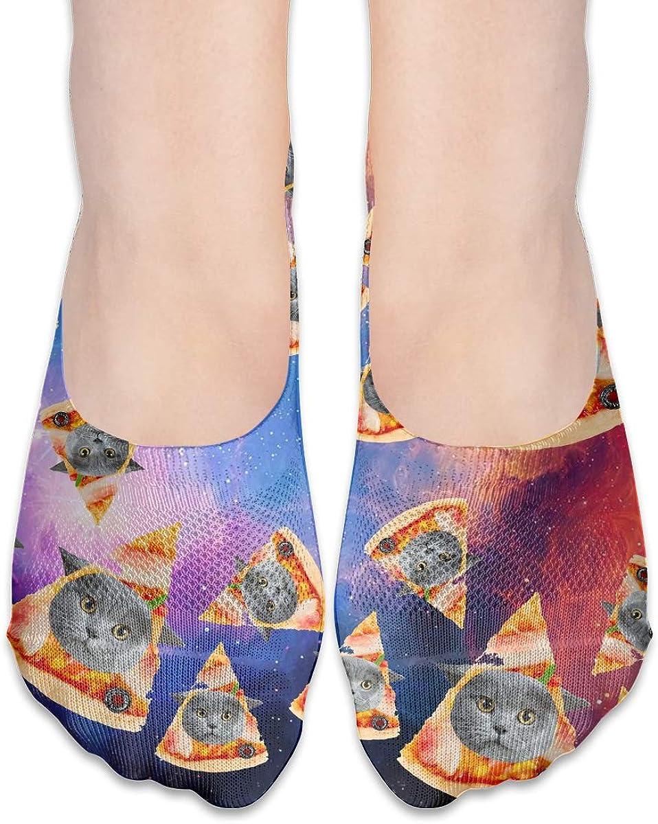 No Show Socks Women Men For Fat Kitty Pizza Cat Galaxy Flats Cotton Ultra Low Cut Liner Socks Non Slip
