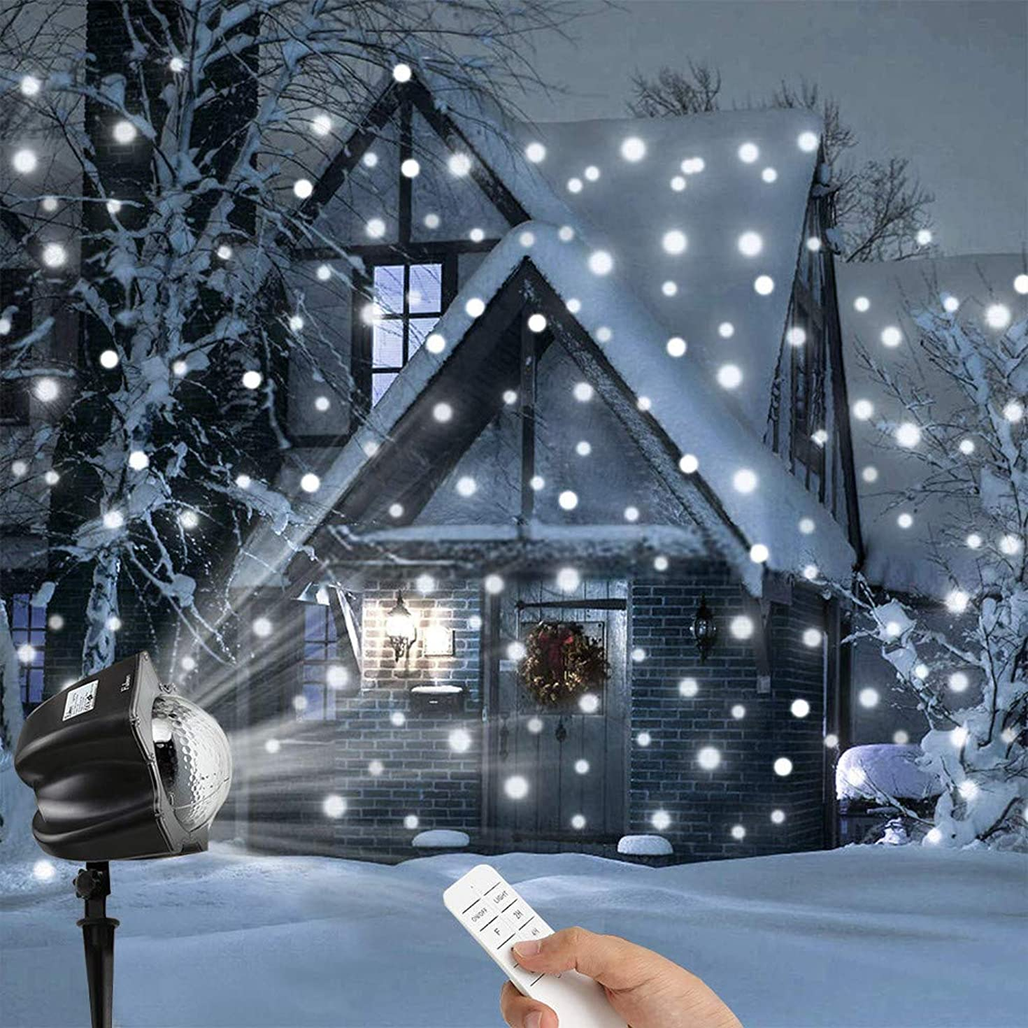 VonVonCo Christmas Moving Snowflakes Projector Light, 3.6W Projection Spotlight Christmas Lamp (250240230mm, Black)