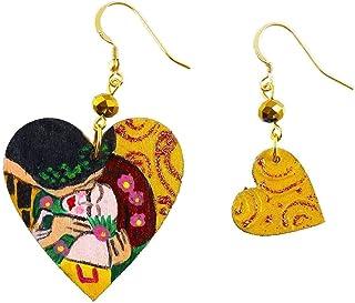Orecchini dipinti a mano – IL BACIO DI KLIMT - Orecchini pendenti da donna, Gioielli in legno dipinti a mano, Gancio in ar...