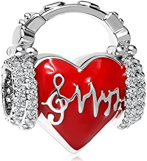 Heart Love Heartbeat Charms Red Enamel Beads for Snake Chain Bracelets