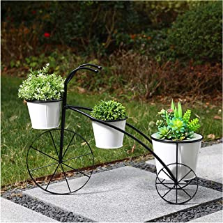 """Glitzhome 27.5"""" L Oversized Metal Enamel White & Black Bicycle Planter Stand Hand Painted Tricycle Standing Planter Flower..."""