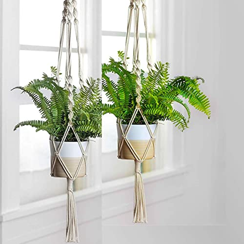 ecofynd® Macrame Cotton Boho Plant Hanger [Without Pot] | Rope Flower Pot Holder for Indoor Outdoor Balcony Gardening...