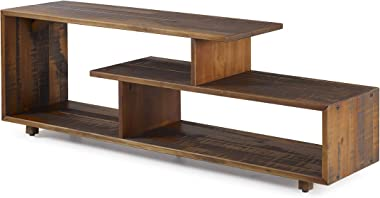 """Walker Edison Rustic Asymmetrical Wood Universal TV Stand for TV's up to 65""""Flat Screen Cabinet Door and Open Shelves Living Room Storage Entertainment Center Amber Brown60 Inch"""