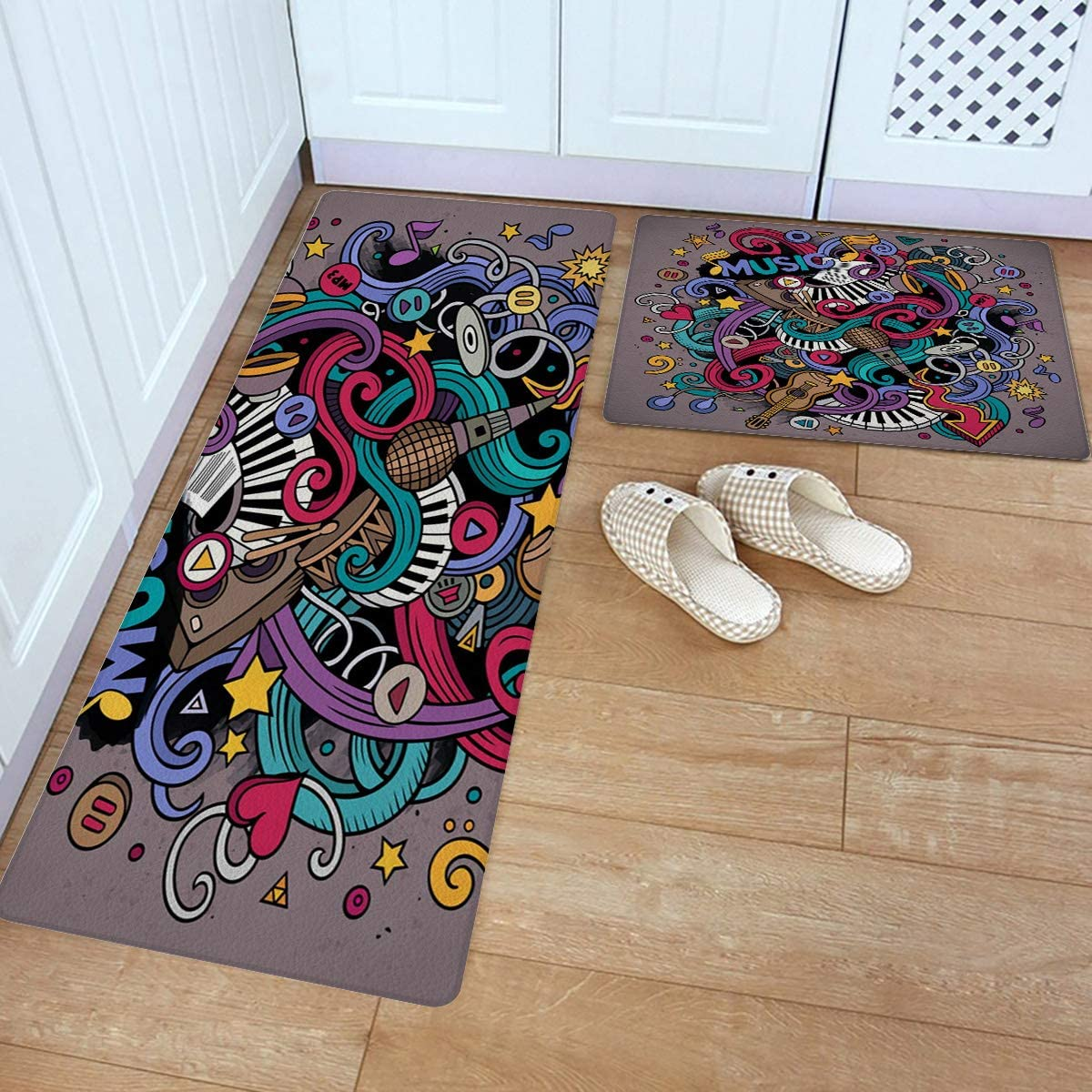 Kitchen Rug Set 2 Piece Mail order cheap PVC Mat G Leather Floor Concert Colorful Sale price