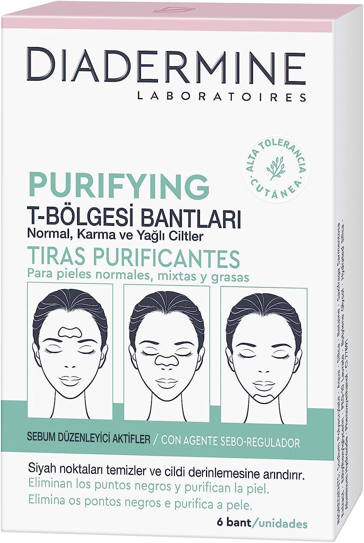 Diadermine - Tiras Purificantes, 6 tiras, para pieles normales y mixta, Elimina puntos negros y purifica la piel