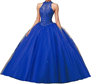 Quinceanera Dress High Neck Lace Formal Prom Party Gown Open Back Sweet 16 Quinceanera Dresses
