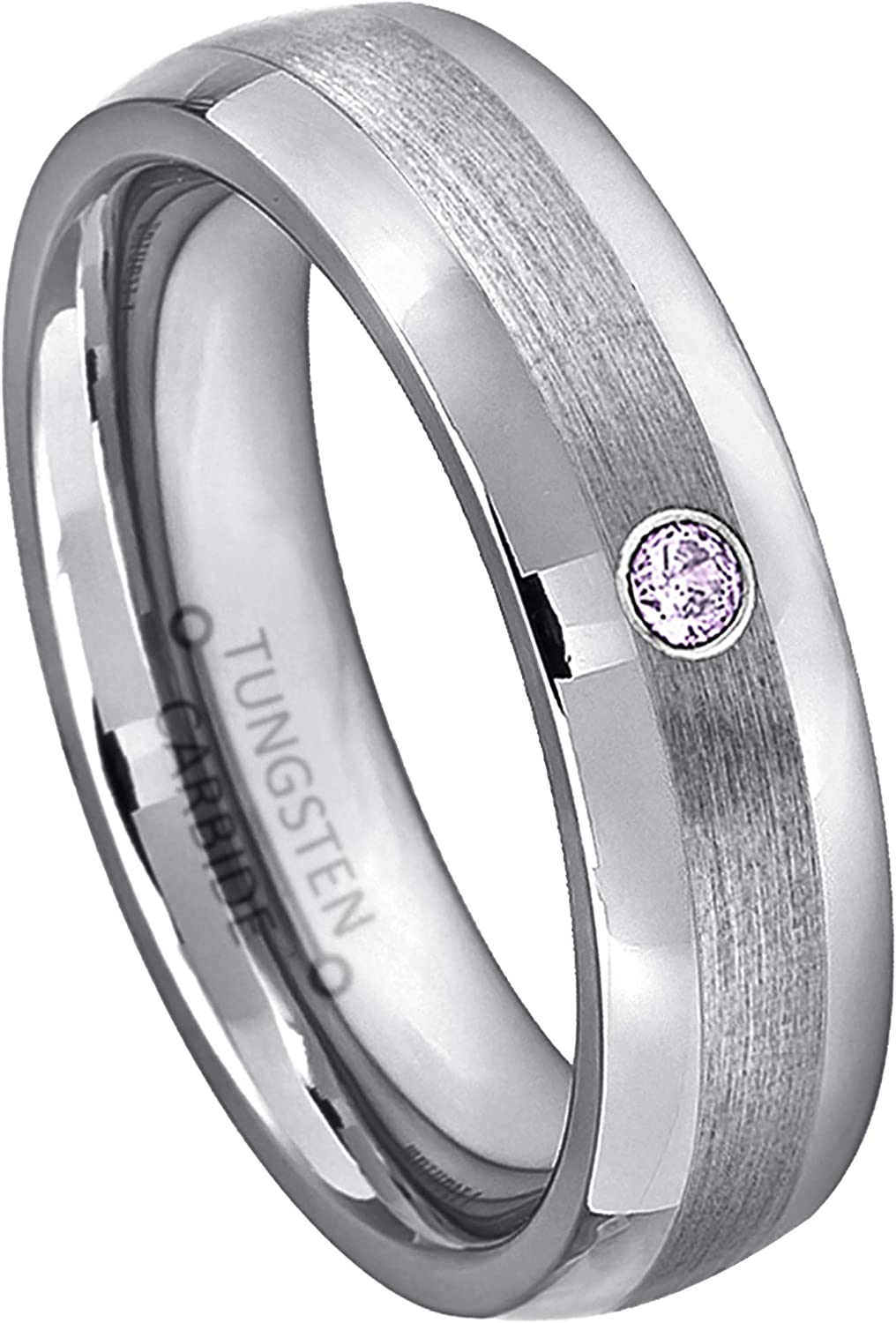 Jewelry Avalanche Max 55% OFF 0.07ct Amethyst Tungsten Los Angeles Mall February - Birth Ring