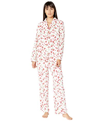 Carole Hochman Baby Fleece Pajama Set (White/Red Floral) Women