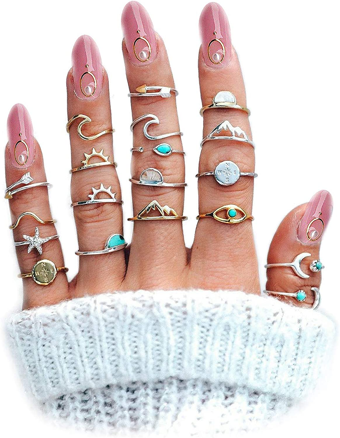 Boho Retro Stackable Rings Sets for Teen Girls Women,Peak Sea Wave Compass Turquoise Rhinestone Knuckle Joint Finger Kunckle Nail Ring Sets