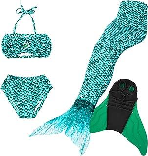 BESTYLING Colorful Mermaid Tail with Monofin for Swimming, Girls Mermaid Princess Bikini Swimwear