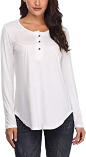 MSBASIC Womens Shirts Casual Long Sleeve Henley Button Up Tunic Tops Blouse
