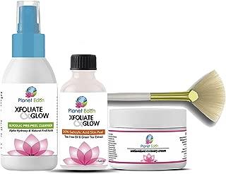 Plantet Eden Anti Aging 30% Salicylic Acid Skin Chemical Peel Kit + Glycolic Acid Pre-Peel Cleanser + Antioxidant Recovery Cream Moisturizer+ Treatment Fan Brush - coolthings.us