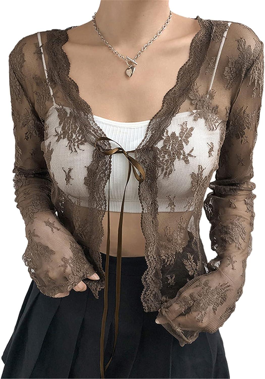 Women Sheer Cardigan Fur Collar Long Sleeve Tie-up Shrug See-Through Mesh Lightweight Lace Crop Top Outerwear