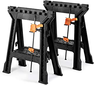 Goplus Clamping Sawhorse Pair with Bar Clamps, 2 PCS Folding Saw Horses with Built-in Shelf and Cord Hooks, Heavy Duty Stand