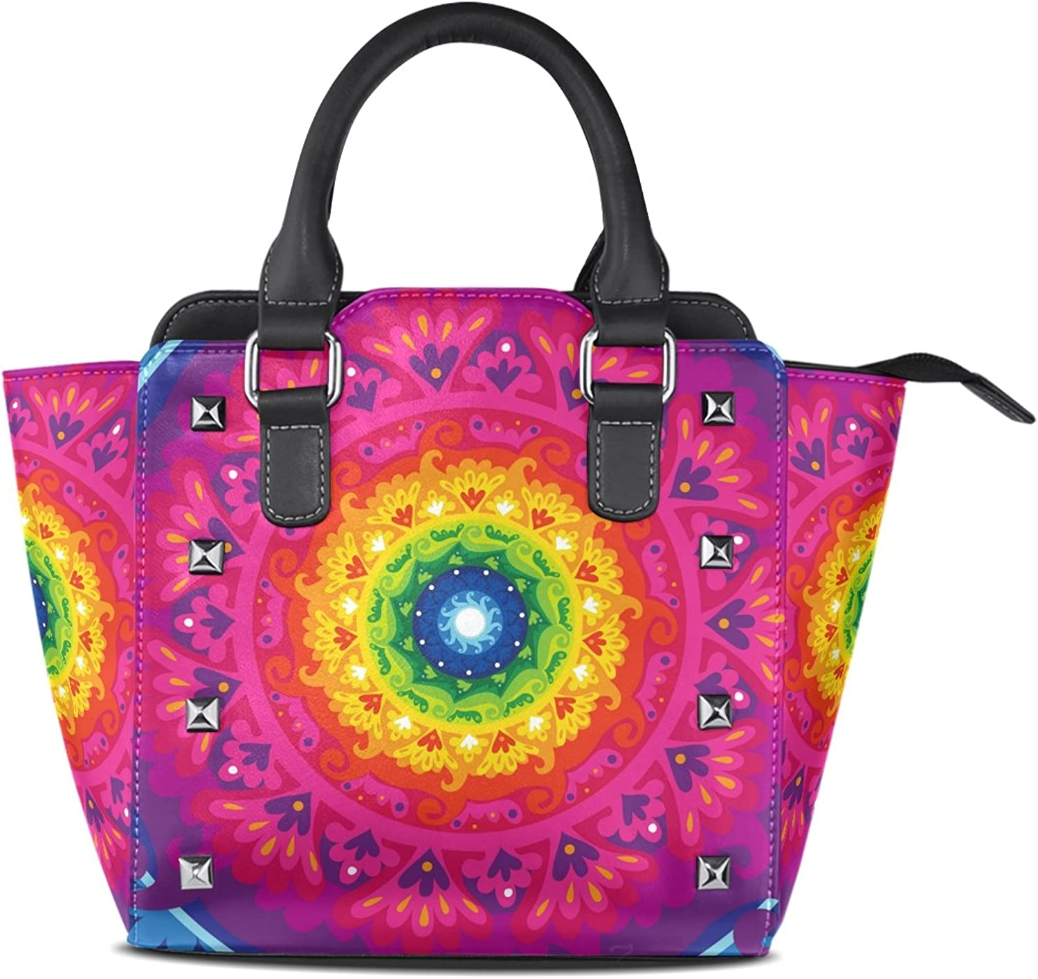 Sunlome Rainbow Sun Mandala Print Women's Leather Tote Shoulder Bags Handbags