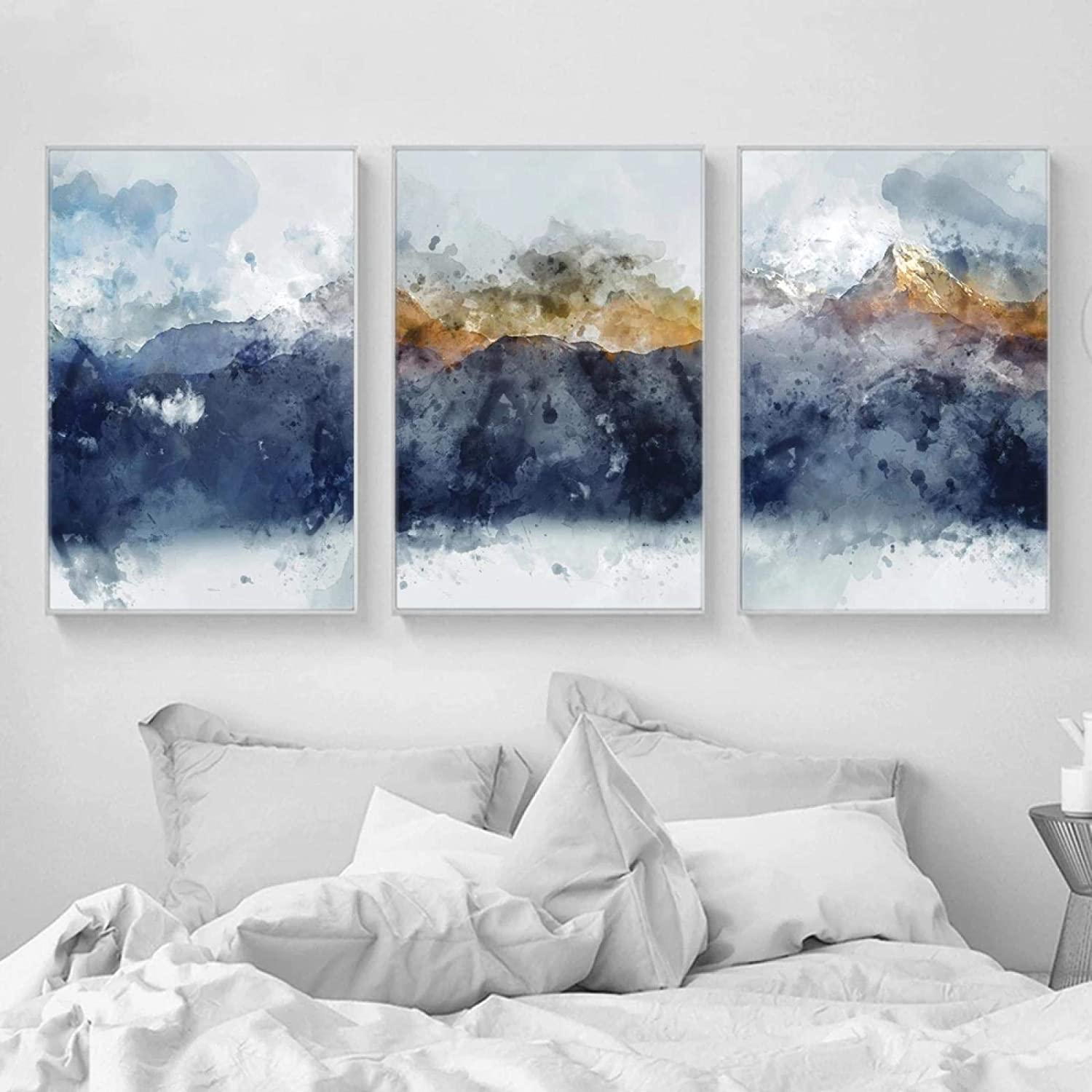 Wall 格安店 Art for Living Room Abstract Gold Painting Yellow 送料無料(一部地域を除く) Navy Blue